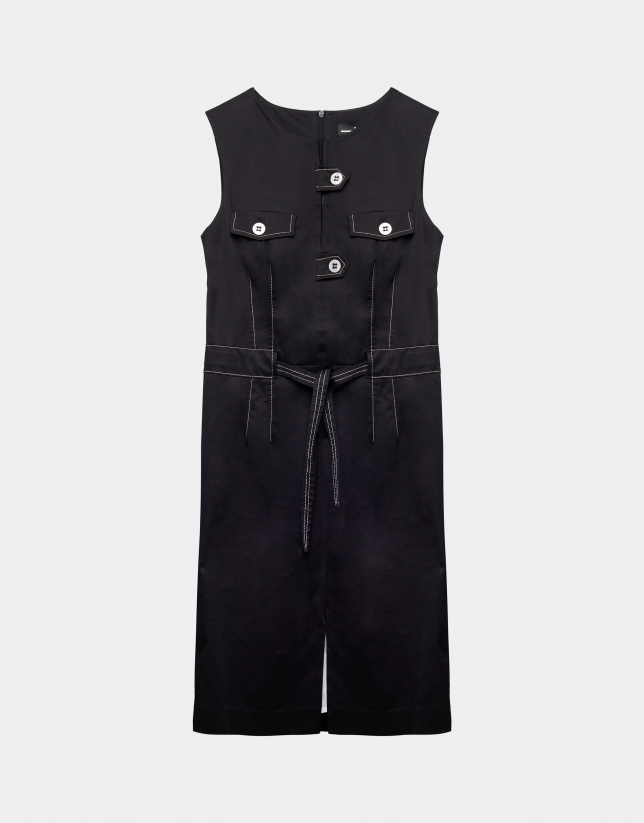 Black cotton midi dress with belt