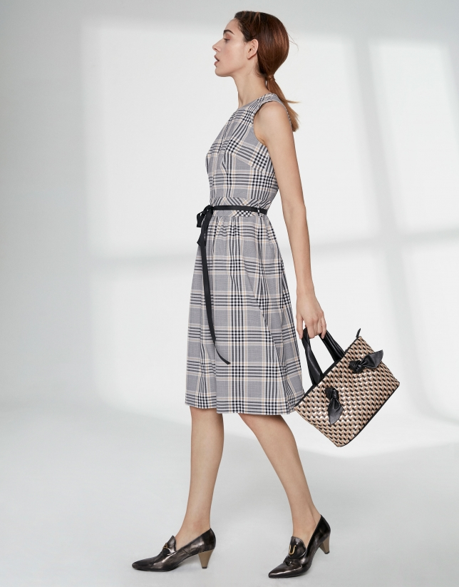 Checked flowing midi dress