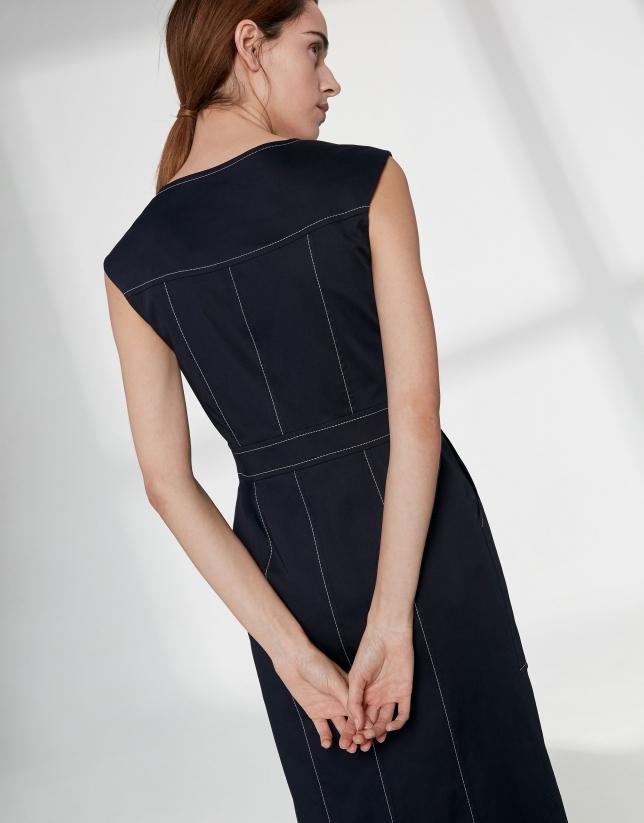 Navy blue cotton midi dress