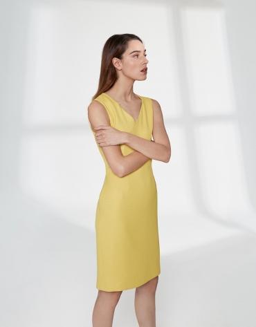 Robe midi sans manches en tissu piqué jaune
