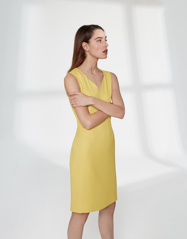 Yellow, midi piqué sleeveless dress