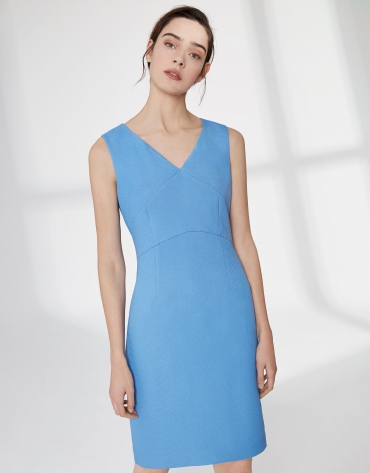 Ultramarine blue, midi piqué sleeveless dress