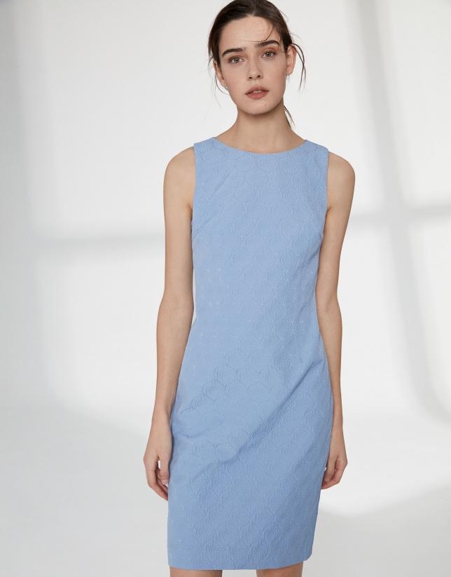 Robe midi sans manches bleu outremer avec détail dans le dos