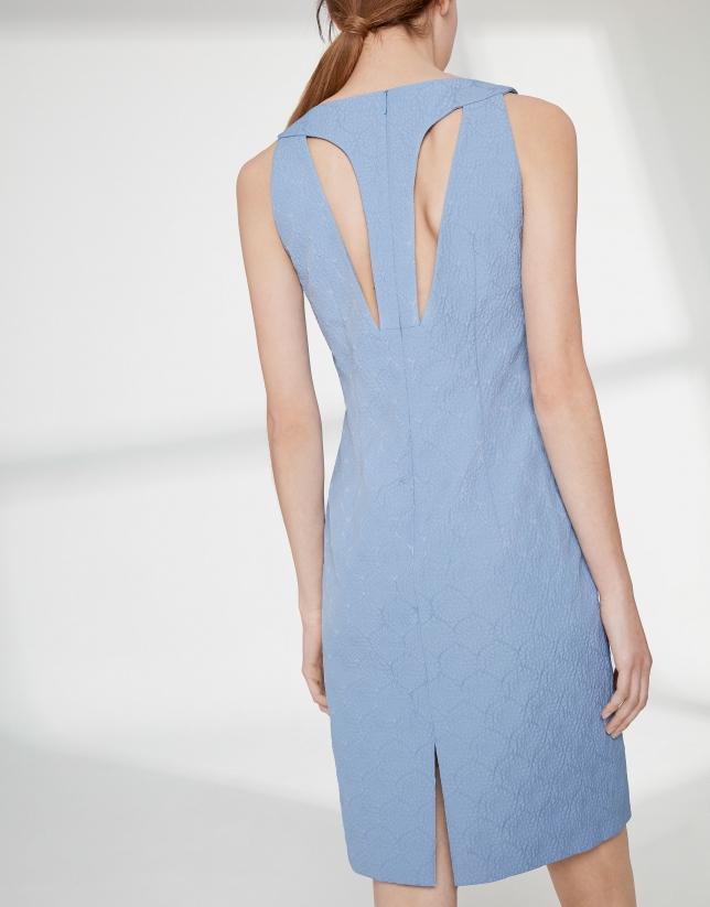 Ultramarine sleeveless midi dress with decoration in the back