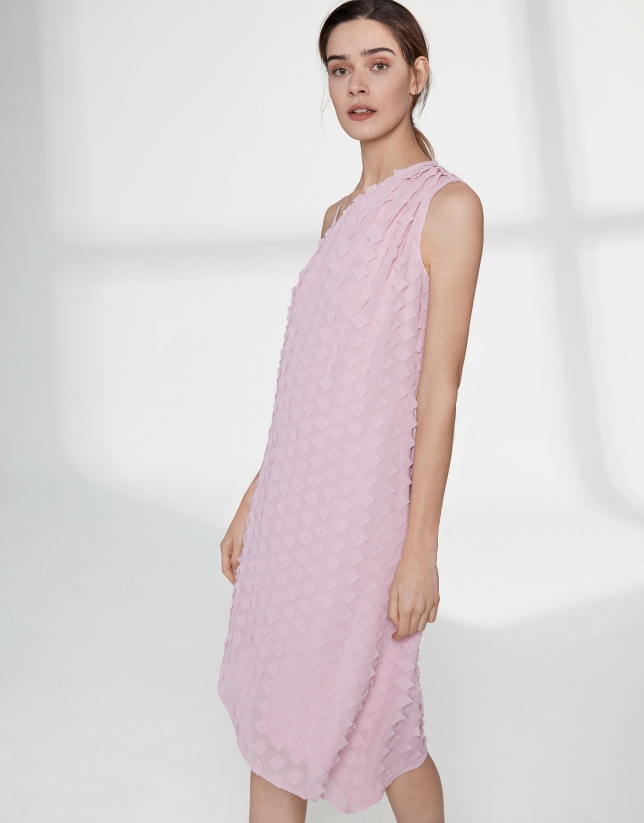 Pink quartz chiffon asymmetric dress