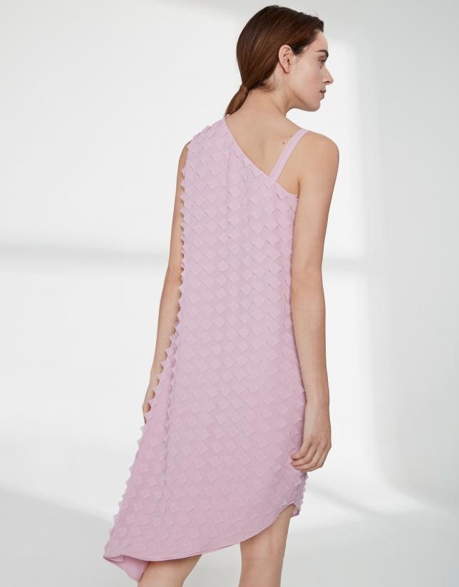 Vestido gasa rosa cuarzo corte asimétrico