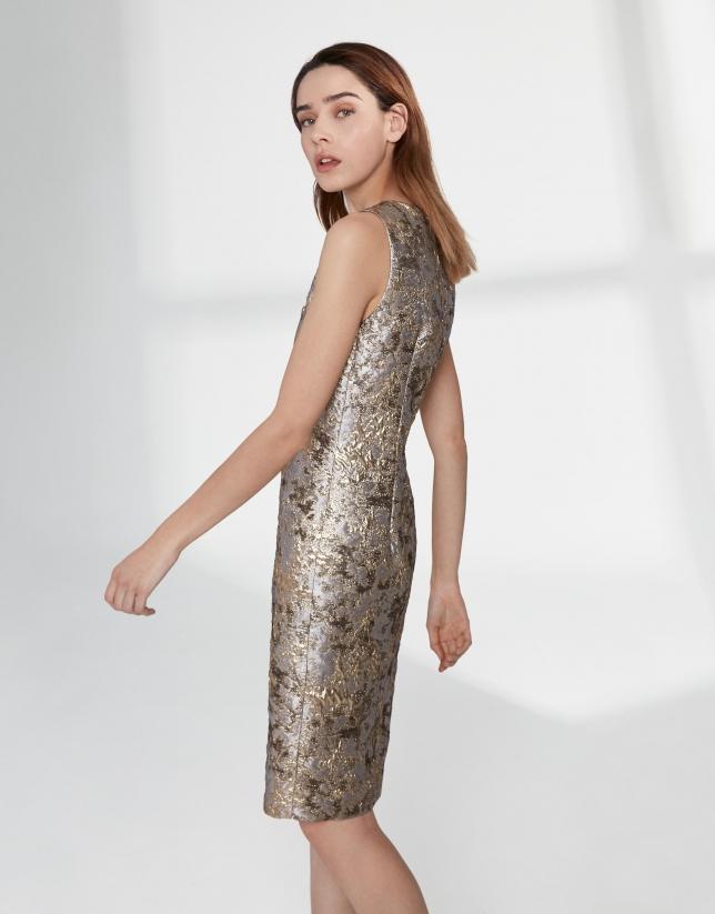 Gold jacquard midi dress