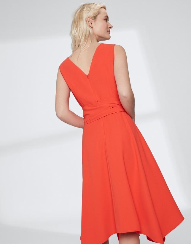 Vestido escote cuadrado naranja