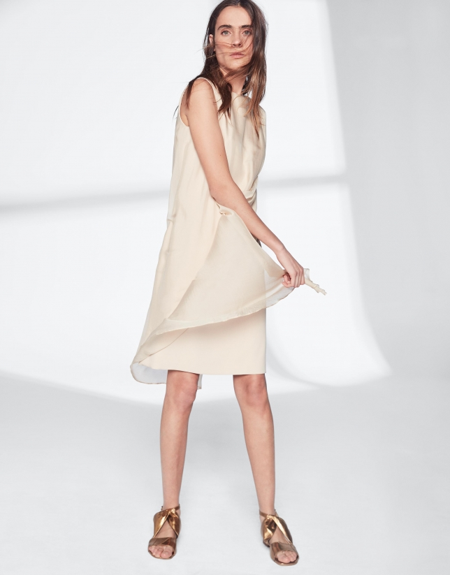 Sandy-colored asymmetric midi cape dress