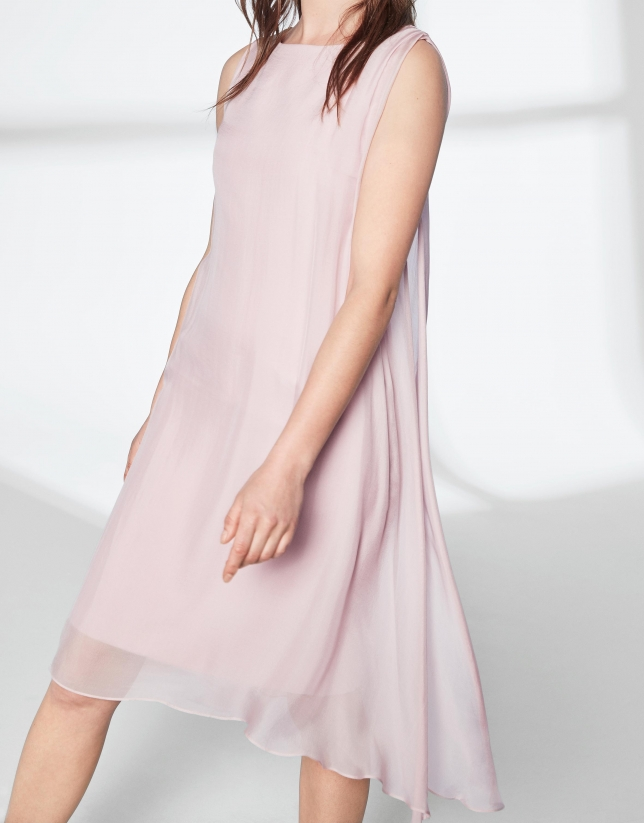 Pink quartz asymmetric midi cape dress