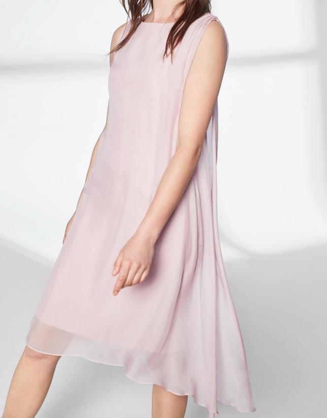 Robe midi à couche asymétrique couleur rose quartz