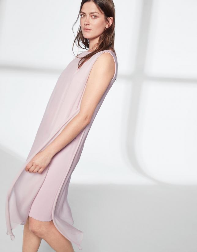 Vestido midi capa asimétrica rosa cuarzo