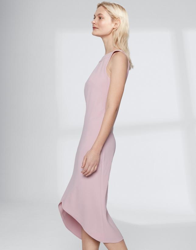 Vestido escote halter rosa cuarzo