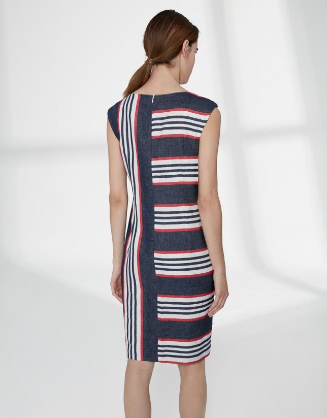 Asymmetric midi dress with sailor stripes