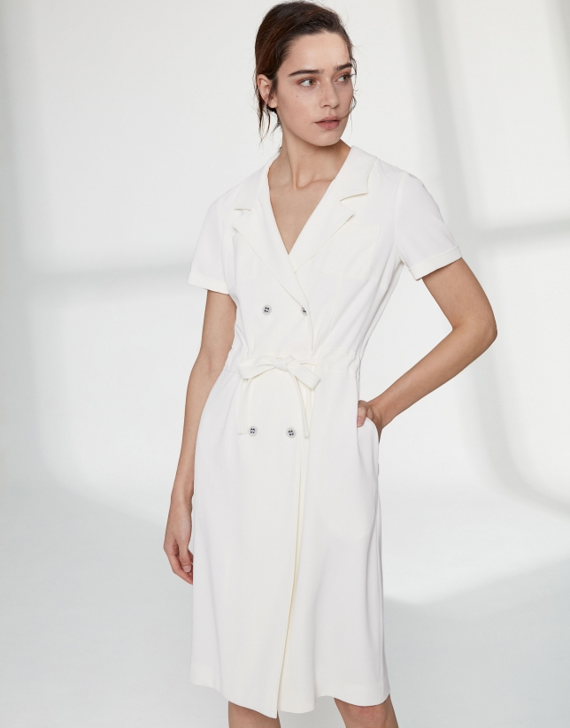 Vestido camisero crudo doble botonadura
