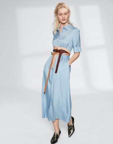 Long blue flowing shirtwaist dress