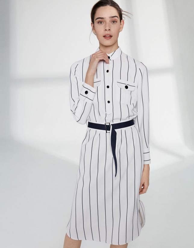 Vestido camisero blanco rayas azules