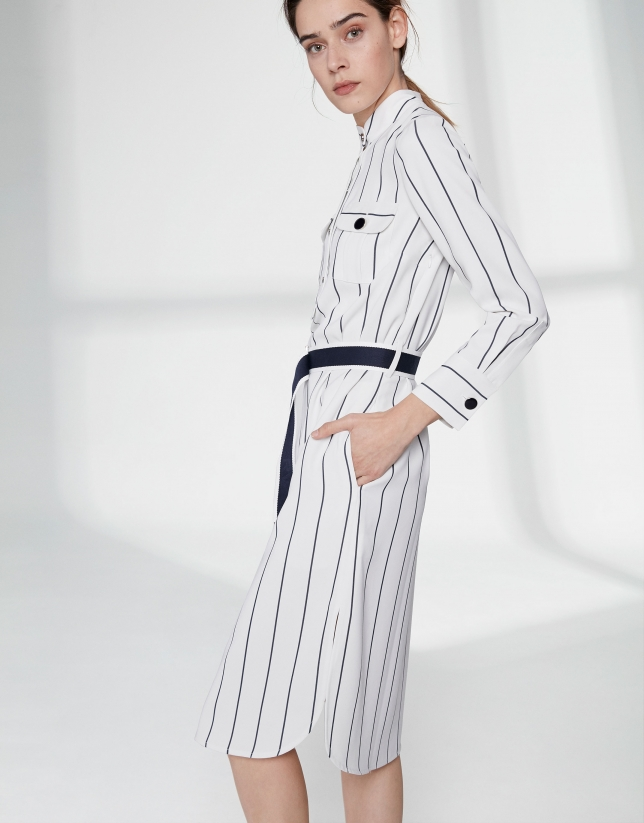 White shirtwaist dress with blue stripes