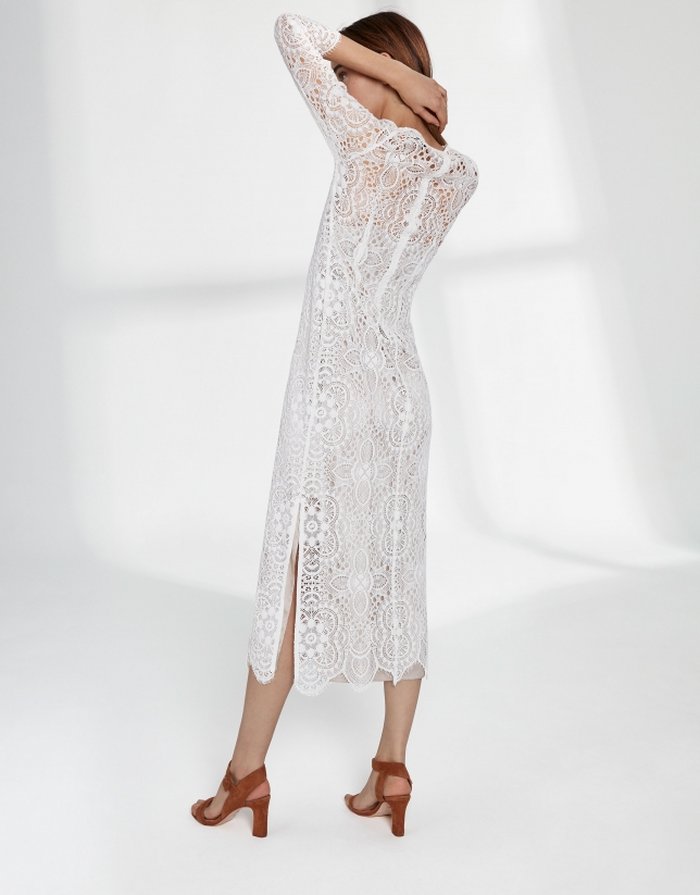 Long beige dress with lace