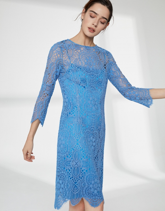 Ultramarine blue midi-dress with lace