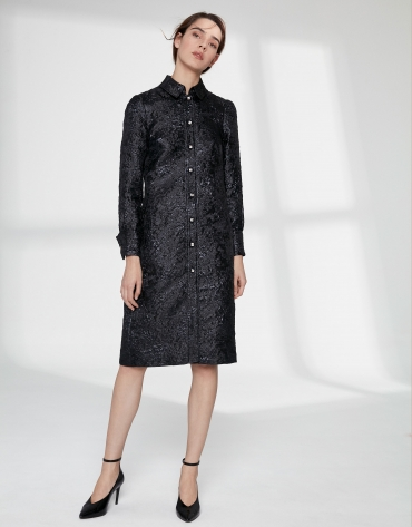 Navy blue jacquard shirtwaist dress