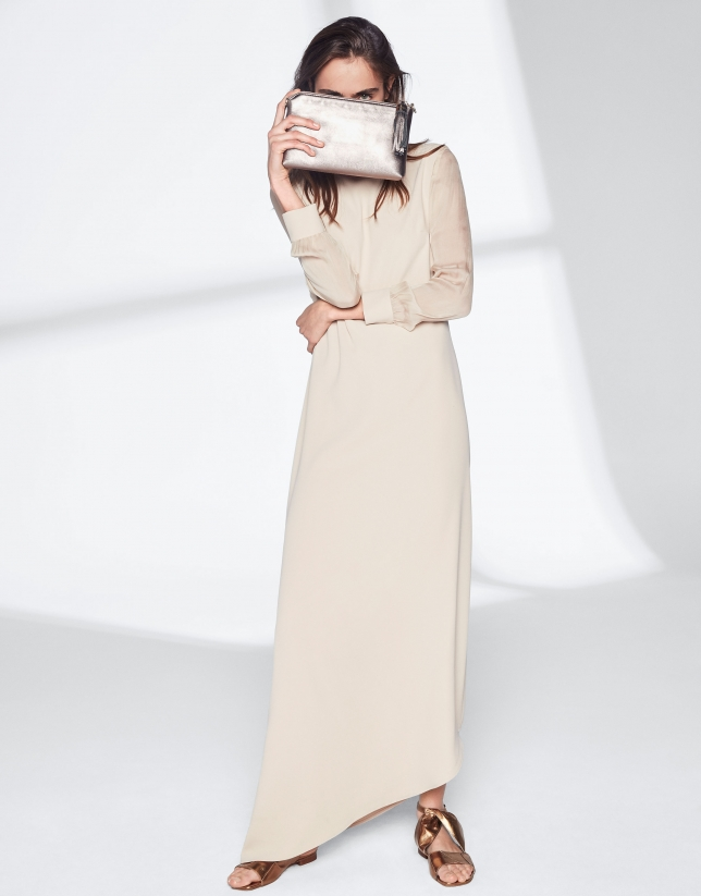 Sandy-colored dress with asymmetric hem
