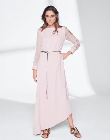 Pink quartz dress with asymmetric hem