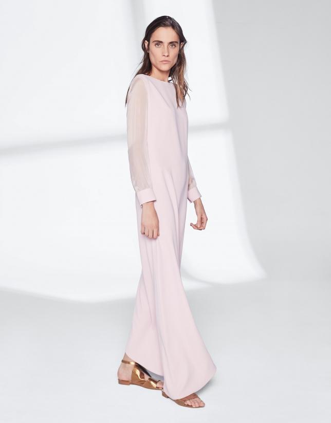 Vestido bajo asimétrico rosa cuarzo