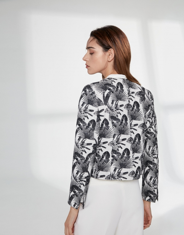 Black floral jacquard short jacket