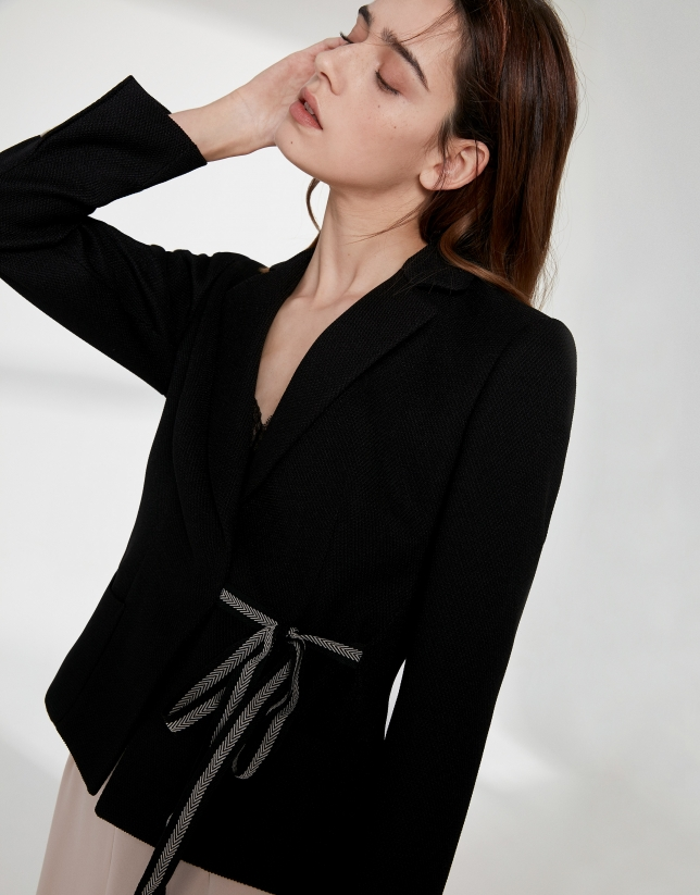 Black jacquard short suit jacket