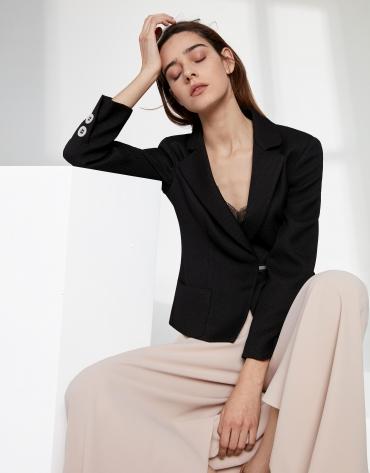 Black jacquard short suit jacket