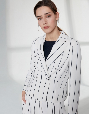 White short suit jacket with blue stripes