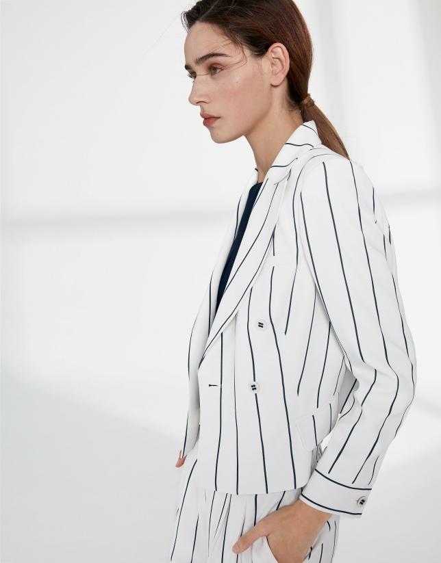 White short suit jacket with blue stripes