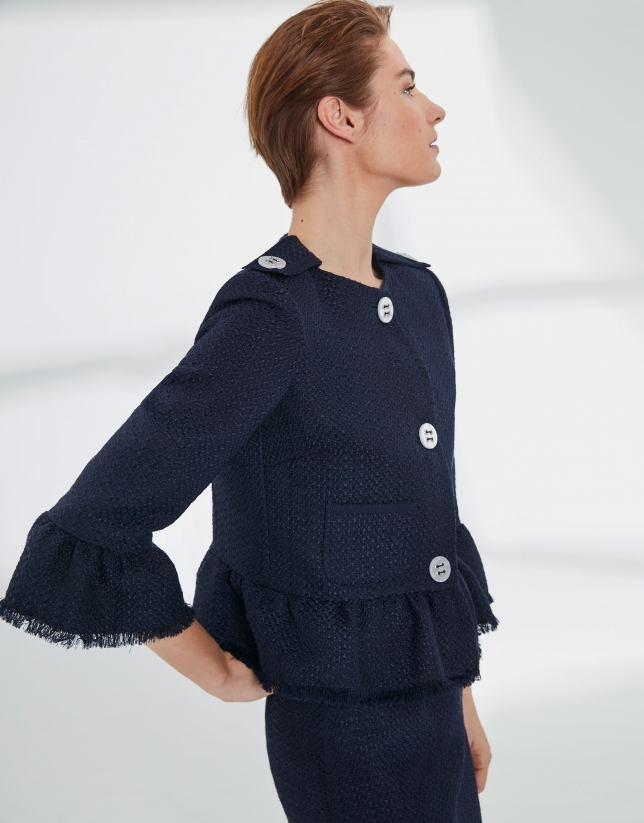 Navy blue short pique jacket
