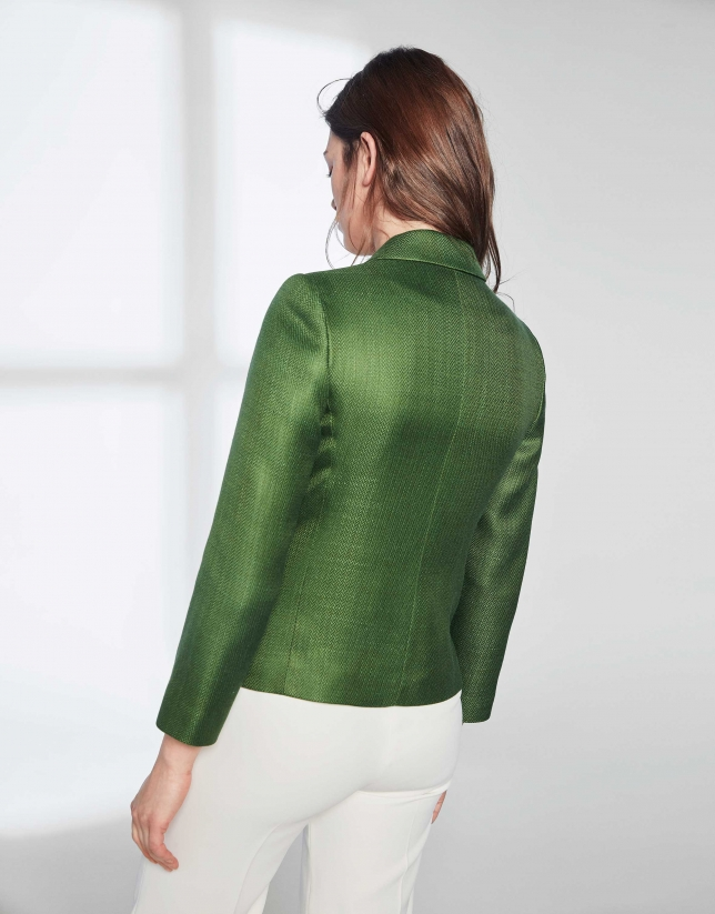 Dark green suit jacket with one button