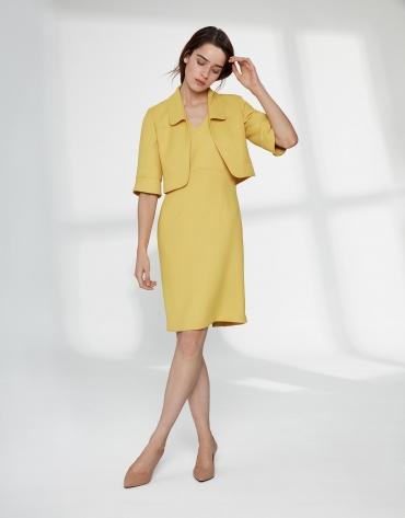 Yellow piqué bolero jacket