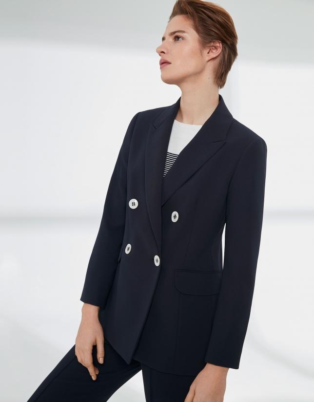 Veste couleur bleu marine à double patte de boutonnage
