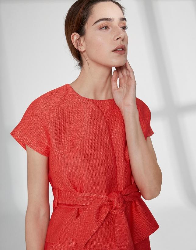 Orange jacquard short sleeve jacket
