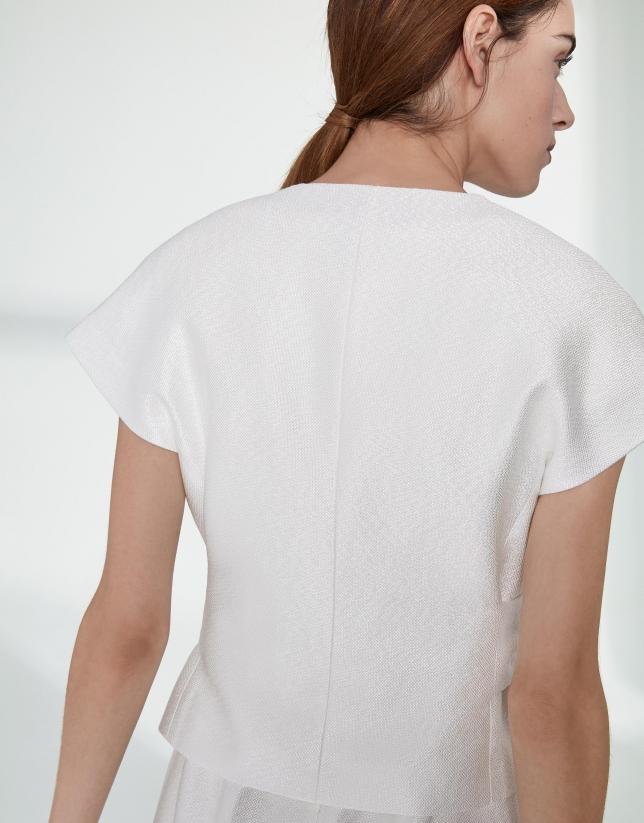 Chaqueta manga corta jacquard blanca