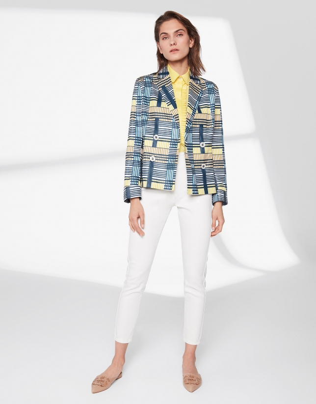 Geometric print jacket with two rows of buttons