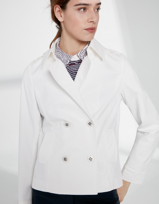 Ivory jacket with two rows of button