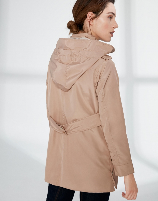 Sandy-colored long light parka