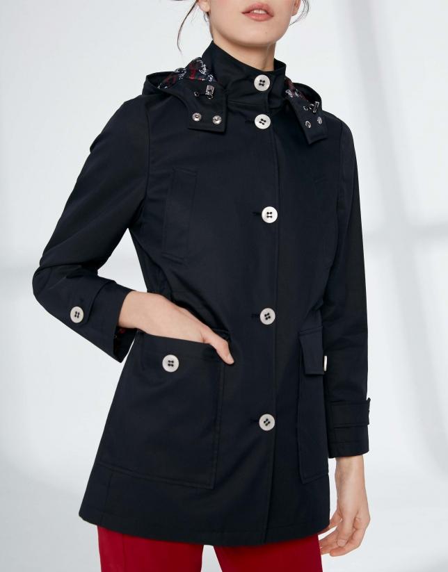 Navy blue long hooded parka
