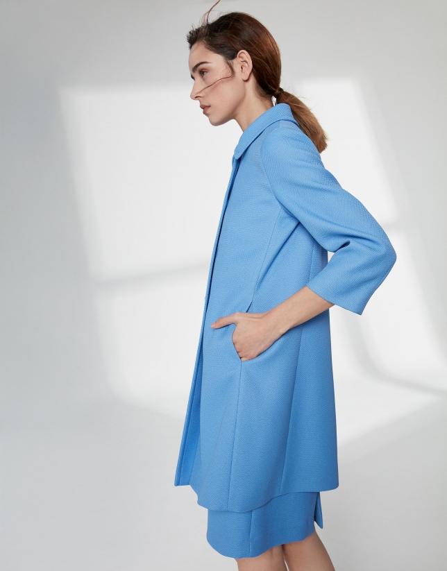 Veste longue habillée, en piqué bleu outremer