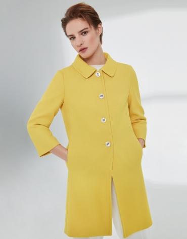 Veste longue habillée, en piqué jaune