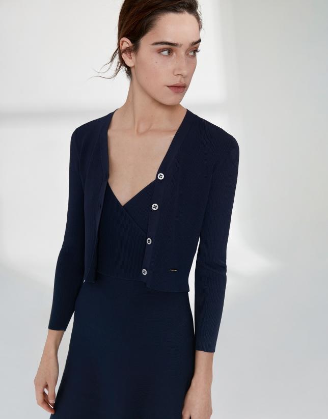Cardigan côtelé bleu marine