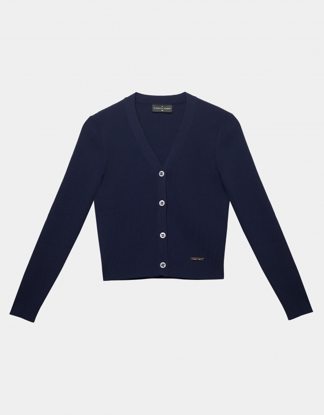 Navy blue ribbed cardigan