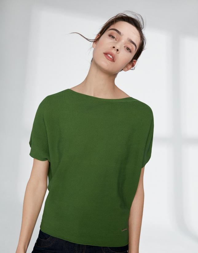 Pull manches chauve-souris vert