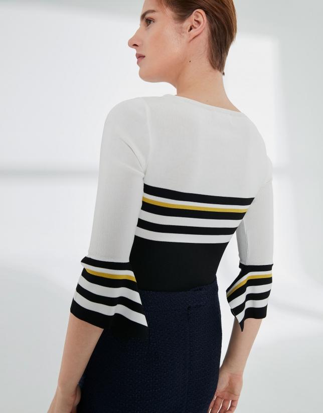 Jersey marinero negro, blanco y amarillo