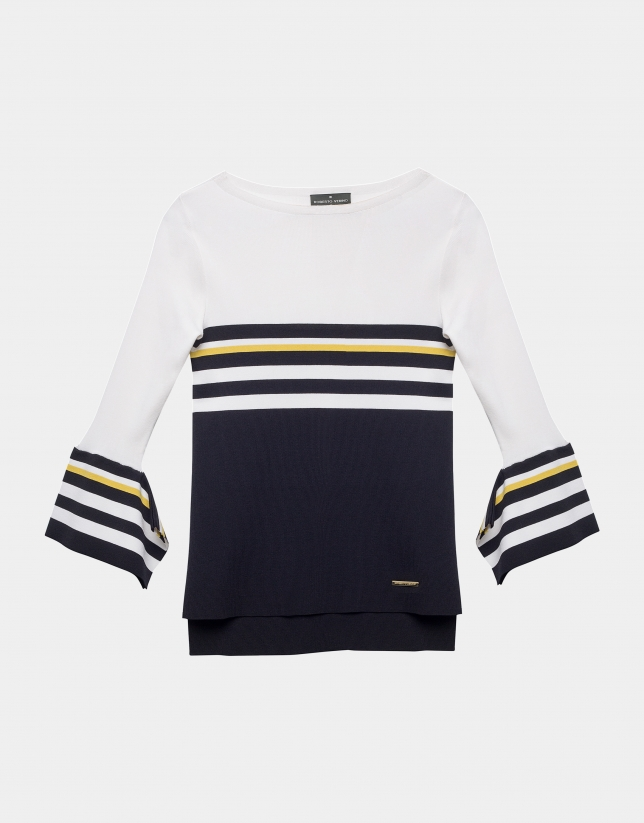 Black, white and yellow sailor sweater